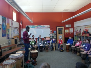 Namory Keita with students in Kittery