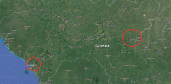 map of guinea highlighting Conakry and Kouroussa